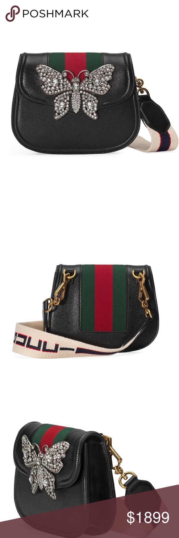 b2b3a403a New Authentic Gucci Linea Totem Crystal Bag New Gucci Linea Totem Small  Leather Shoulder Bag with Crystal Butterfly & Web Strap •Gucci shoulder bag  in calf ...