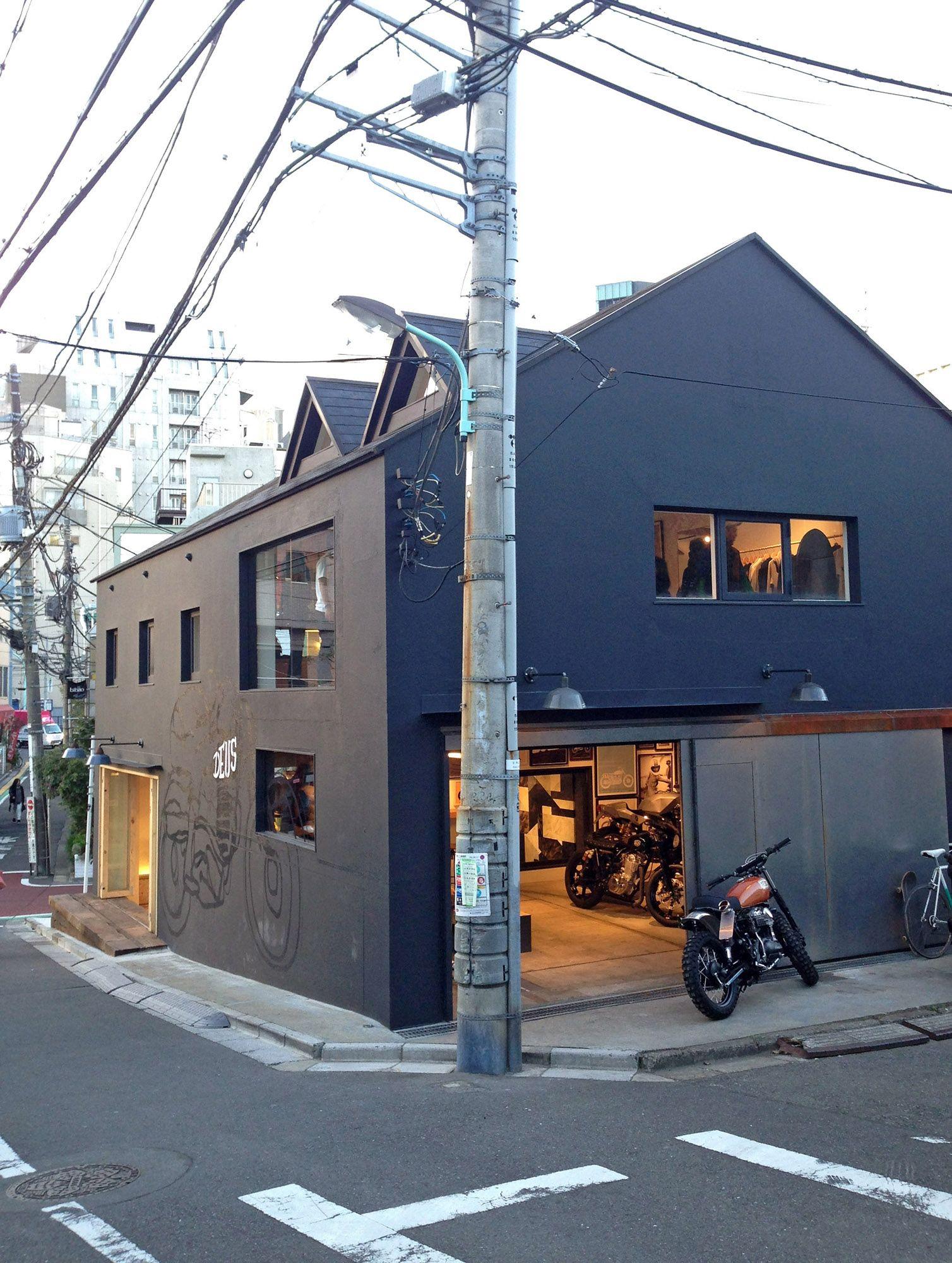 deus ex machina tokyo architecture interior motorcycle. Black Bedroom Furniture Sets. Home Design Ideas