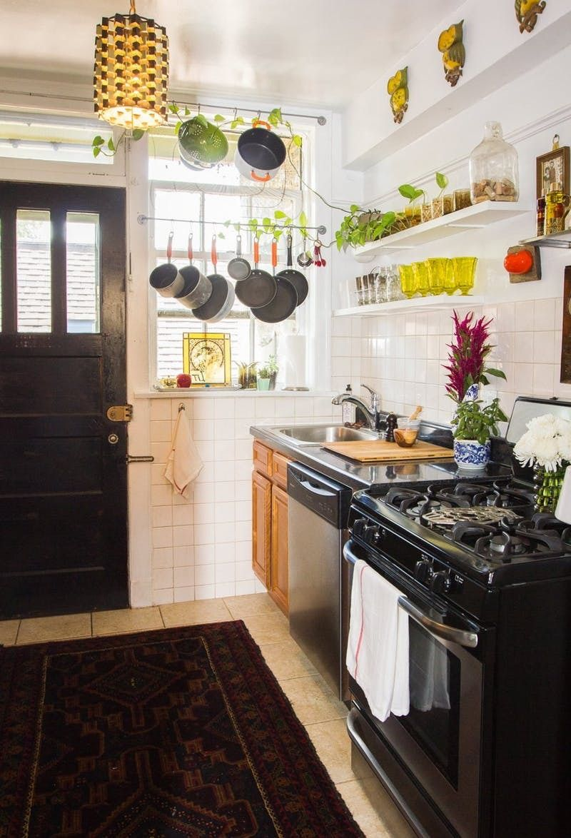 Making It Work Hanging Pots And Pans In Front Of A Window Tiny House Kitchen Apartment Kitchen Home Kitchens