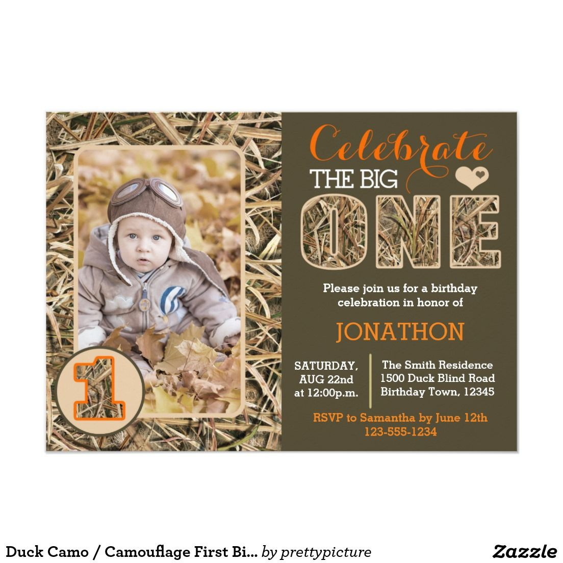 Duck camo camouflage first birthday party card camouflage duck camo camouflage first birthday party card bookmarktalkfo Image collections