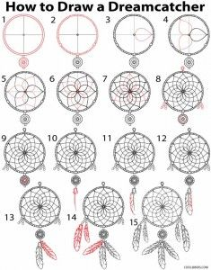 How to draw a dreamcatcher (step by step)   cool2bkids.