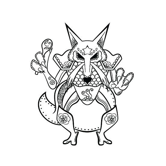 Kadabra De Los Muertos Pokemon Day Of The Dead Mashup Pokemon Coloring Pages Mandala Coloring Pages Cool Coloring Pages