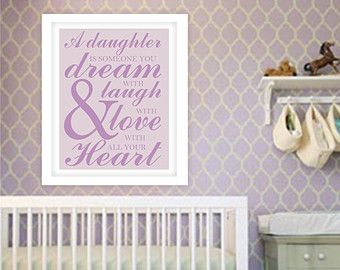 Baby Nursery Wall Decor Daughter Dream Laugh Love Purple Inspirational Quote Kids Typography S