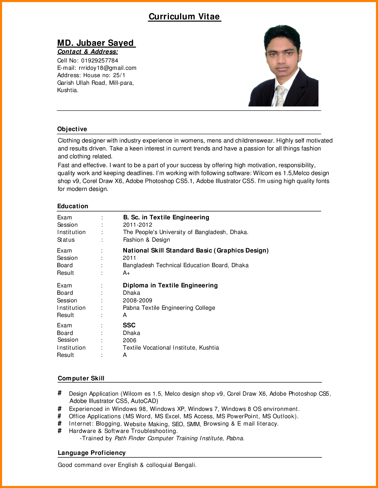 Resume Samples Online Standard Cv Format Bangladesh Professional Resumes Sample