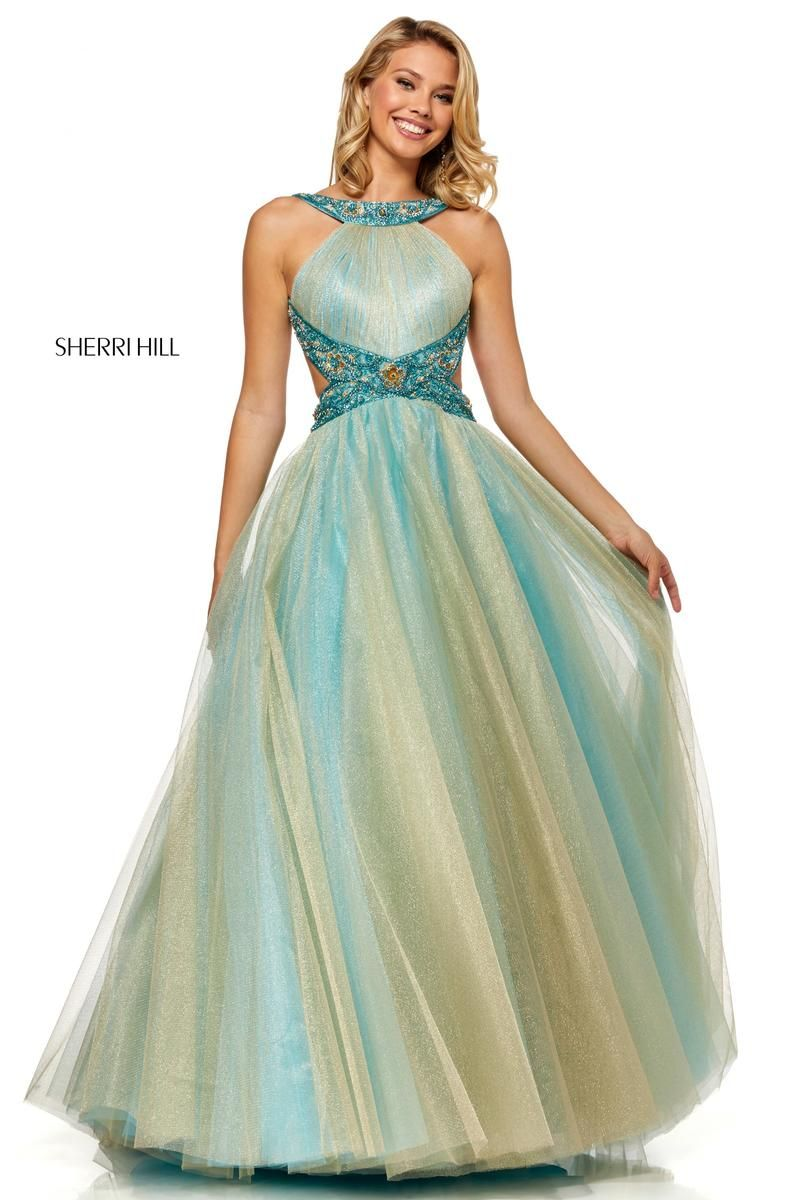 835aeec19a9 Style 52403 from Sherri Hill is a backless two tone prom gown with cut out  sides and embellished trim.