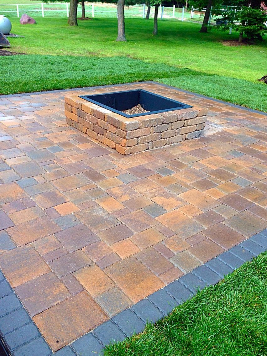 Paver patio with square fire pit | Fire pit backyard ... on Square Patio Designs id=68483