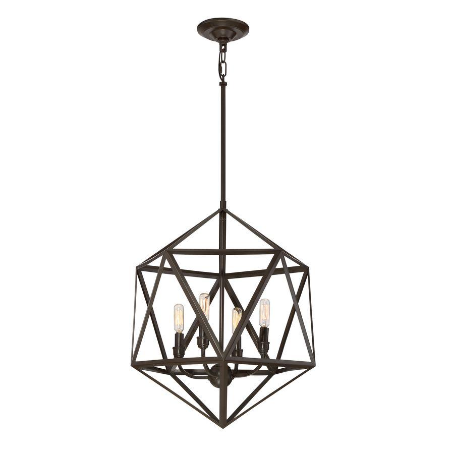 quoizel liberty park 18in painted bronze industrial multilight geometric pendant