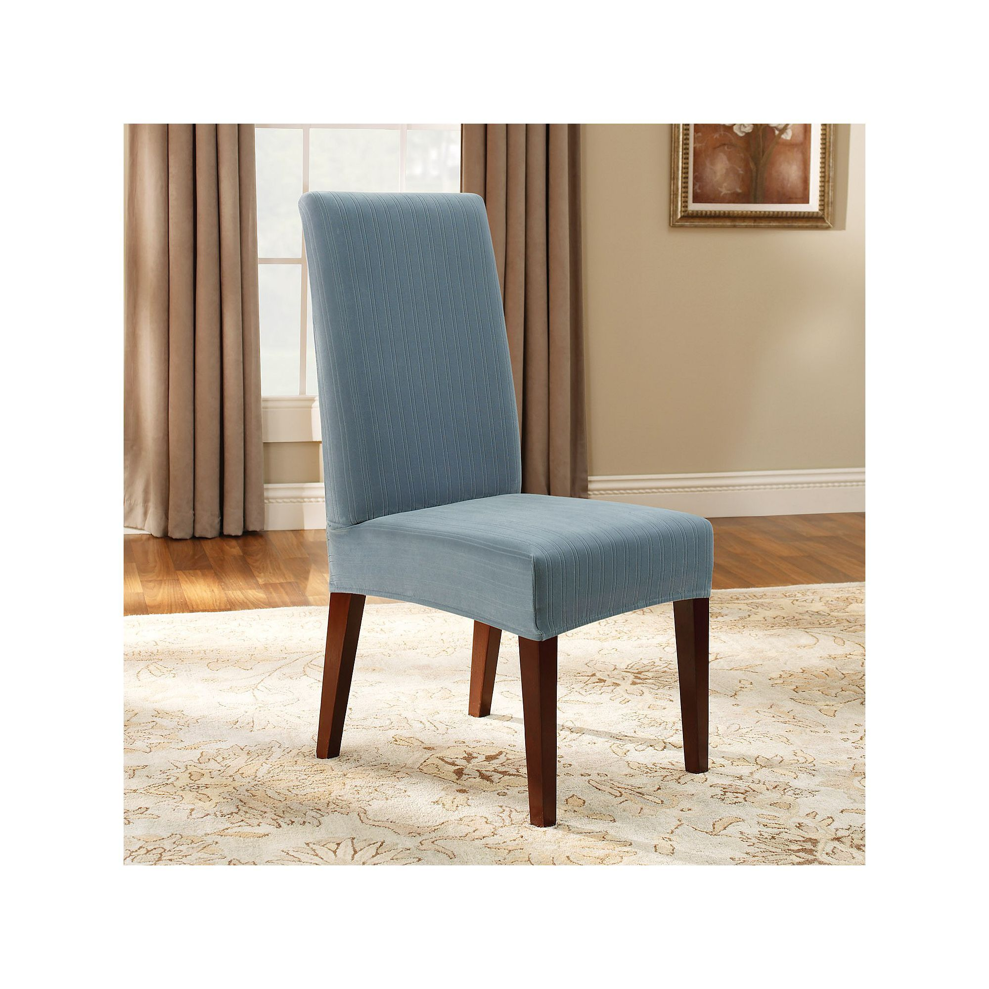 Sure Fit Pin Striped Dining Chair Slipcover Blue