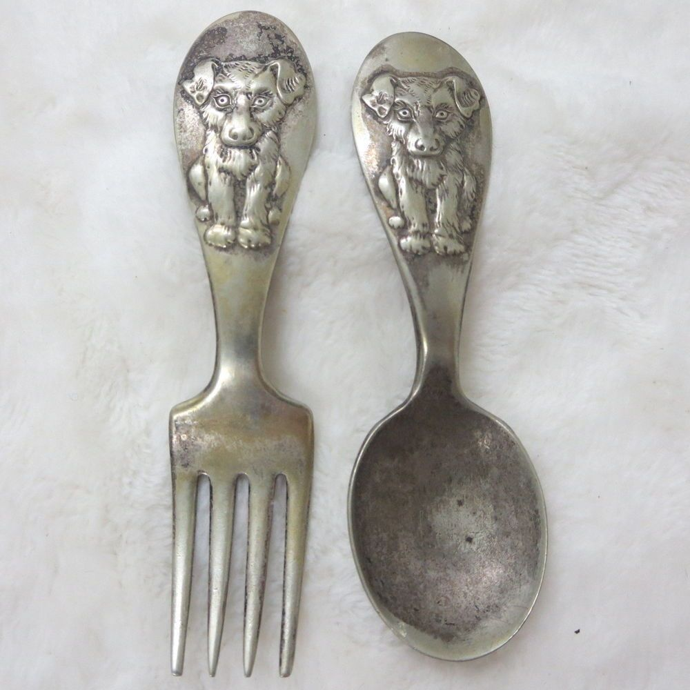 Vintage Winthrop Silver Plate Child S Dog Doggie Spoon