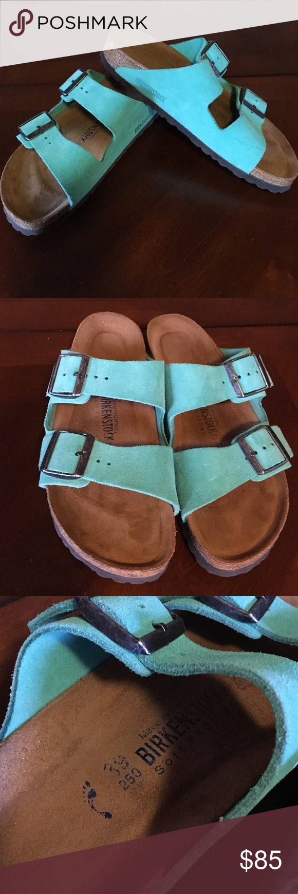 Teal Birkenstocks Brand new, real colored Birkenstocks Birkenstock Shoes Sandals