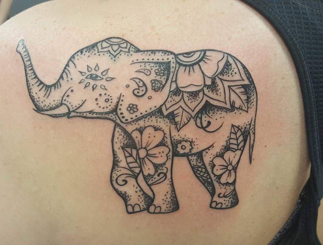 Another Elephanttattoo I Did In A Mandala Style Lineworktattoo Detailsmatter Devotedtattoostudi Elephant Tattoos Body Art Tattoos Mandala Elephant Tattoo