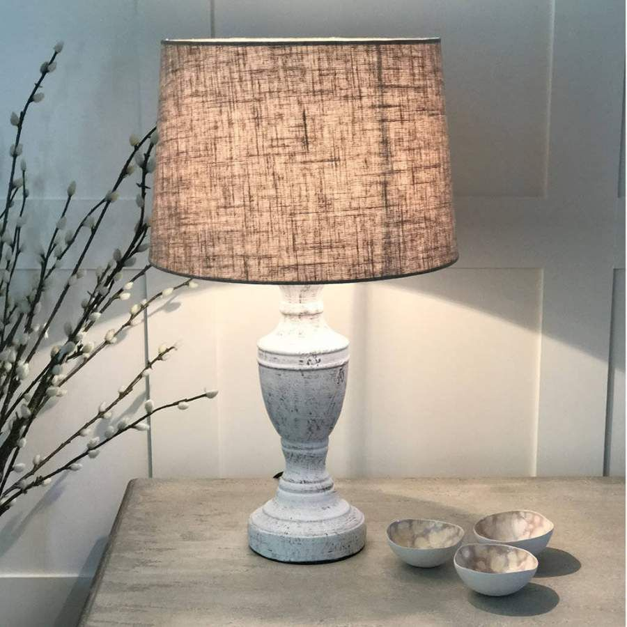 Antique White Distressed Table Lamp Linen Shade By Cowshed