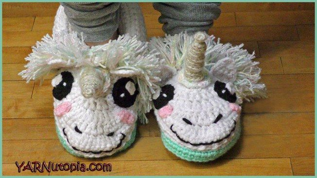 Photo of Crochet Tutorial: Unicorn Slippers – YARNutopia by Nadia Fuad