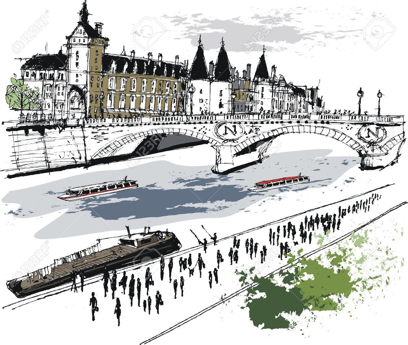Paris Illustration: Vector Illustration D'immeubles à Paris France In 2019