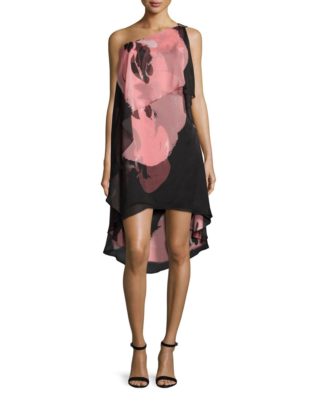 One-Shoulder Tiered Cocktail Dress, Black/Parfait Orchid, Black/Parfait Orchd - Halston Heritage