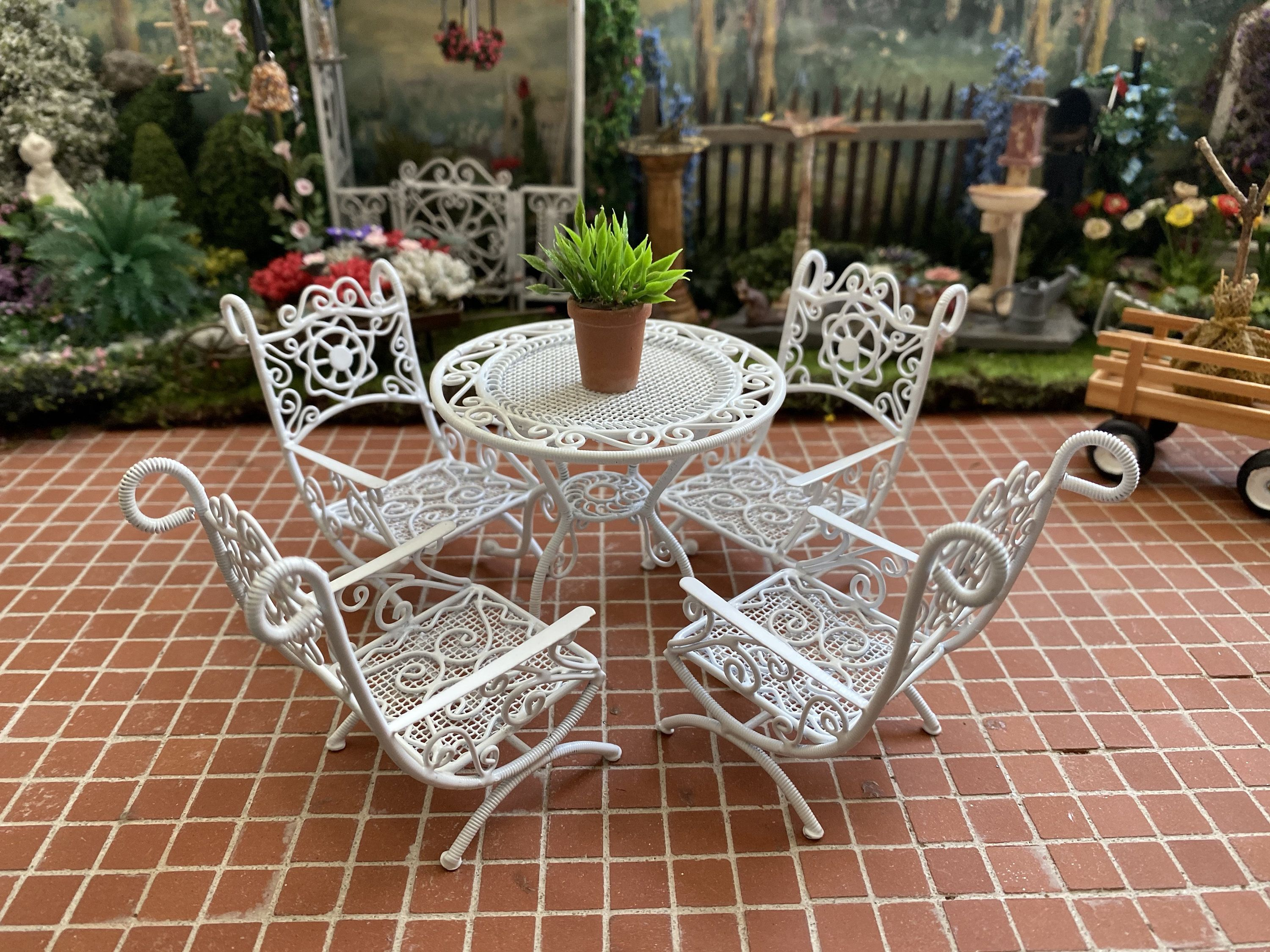mini white metal wire table and chairs