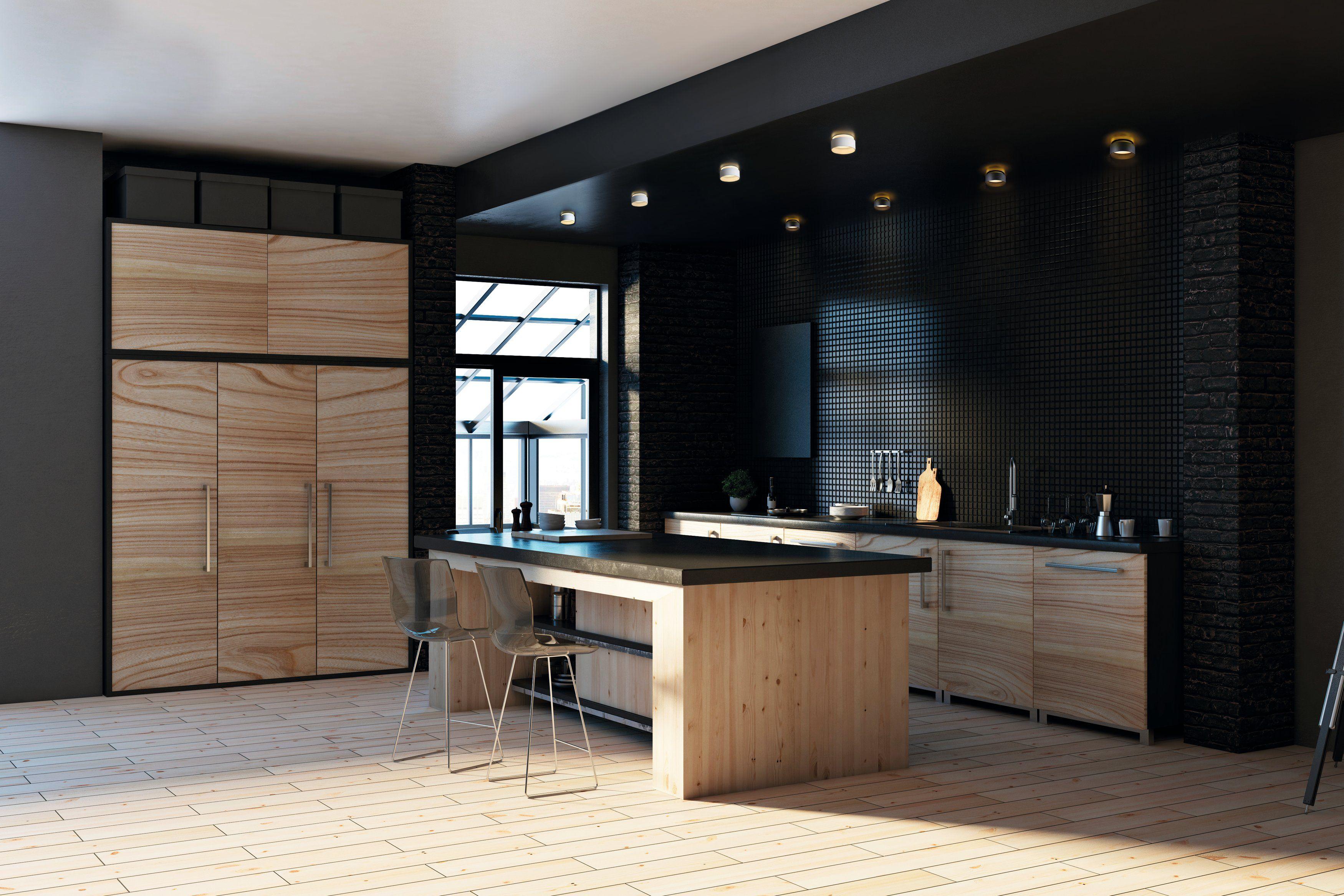 Elegancka Czarna Kuchnia Z Wyspa I Punktowym Oswietleniem Small Kitchen Modern Kitchen Kitchen Design Small