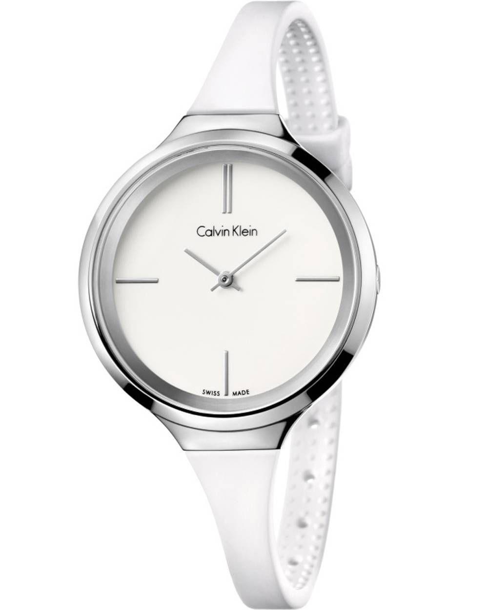 Μοντέρνο ωρολόι του οίκου Calvin Klein με ελβετικό μηχανισμό από ανοξείδωτο ατσάλι, λευκό καντράν και Καουτσούκ λουράκι.