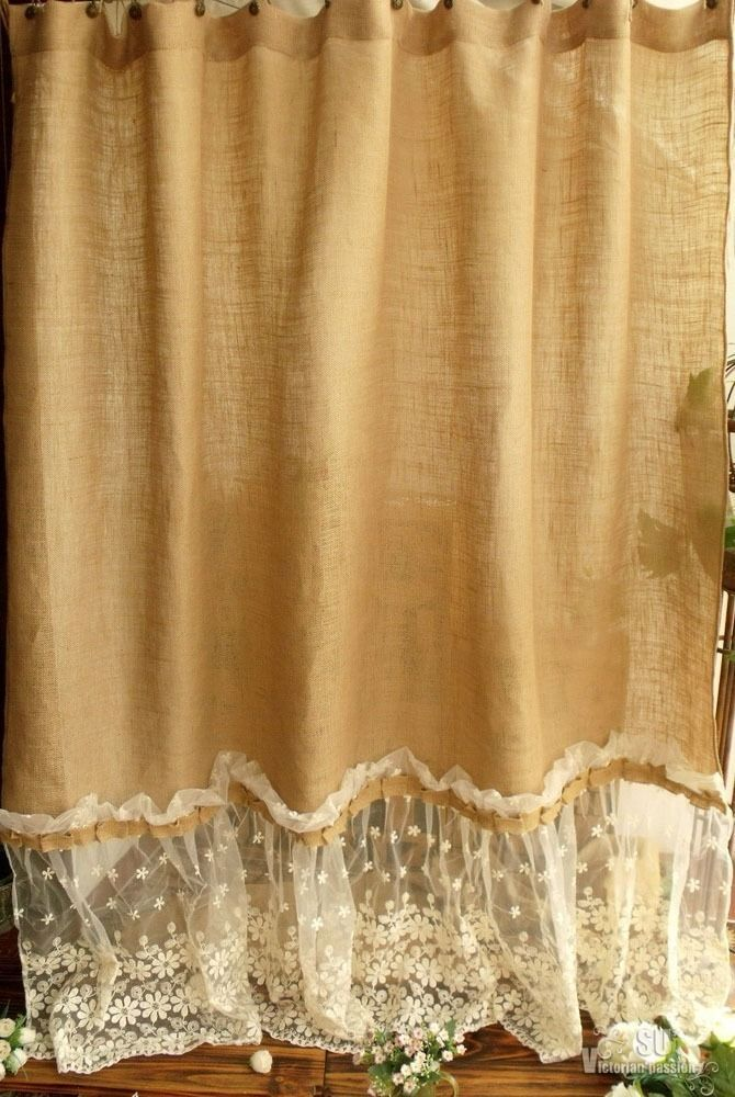 72 Shabby Rustic Chic Burlap Shower Curtain Lace Ruffles Flower