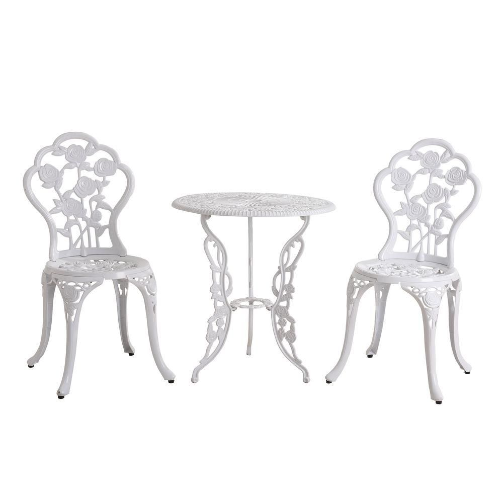 Sunjoy Rosalind White 3 Piece Metal Outdoor Patio Bistro Set