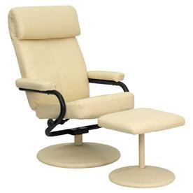Flash Furniture Cream Faux Leather Recliner 847254015783 Recliner With Ottoman Leather Recliner Swivel Recliner