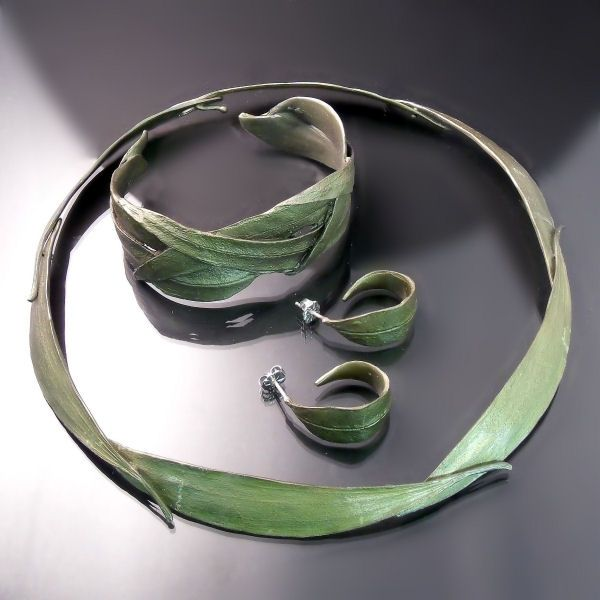 Eucalyptus collar cuff bracelet and earrings Nature inspired