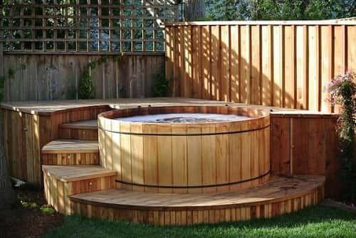 Cedar Hot Tub Is A Hot Tub That Originates From Cedar Wood Of Course Every Cedar Hot Tub Offers The Wood Ca Hot Tub Landscaping Cedar Hot Tub Hot Tub Outdoor