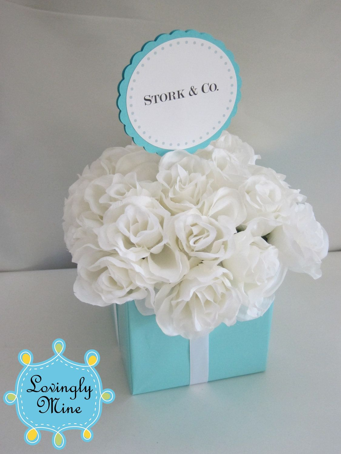 Tiffany baby shower new ideas pinterest tiffany blue baby shower centerpieces stork co tiffany co inspired box tiffany blue and white reviewsmspy