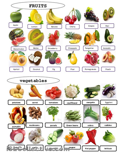 image relating to Printable Fruit and Vegetables known as Pin upon College or university Designs and Routines