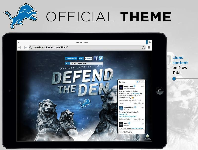 Detroit Lions Mobile Browser Theme for iOS | iOS Themes