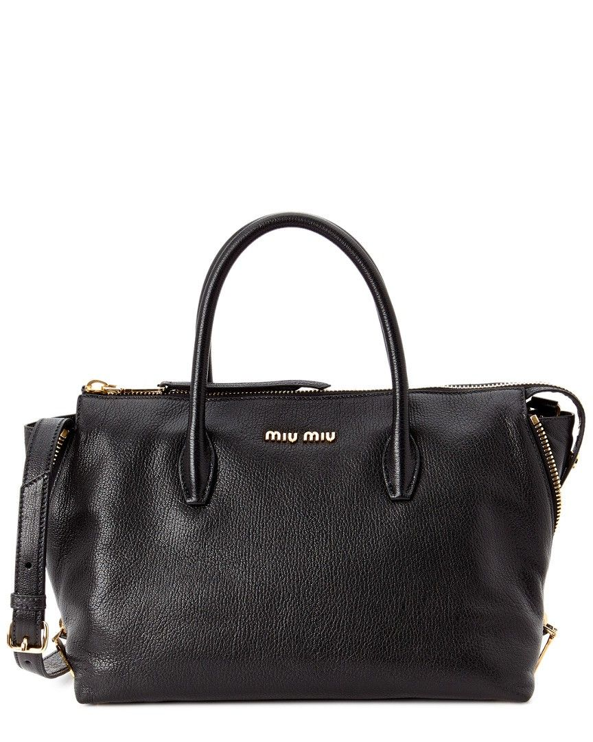 2233467fba13 Miu Miu Madras Leather Side-Zip Satchel Black