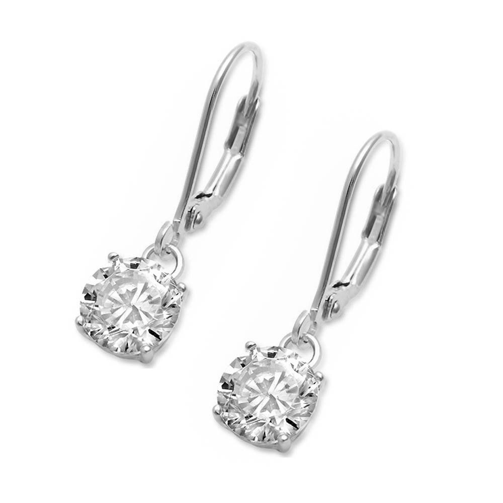Fine Solid Sterling Silver 210mm Drop Dangle Lever Back Round Cubic Zirconia Stud Earrings Three Colors Available 8mm Sterling Silver Earrings Silver Jewelry