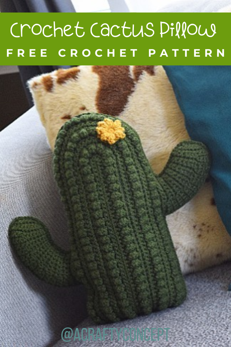 How To Crochet A Cactus Pillow- Free Pattern With Video -