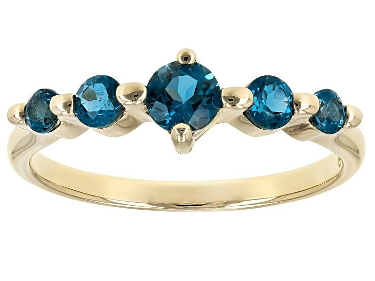 London Blue Topaz 10k Gold 5 Stone Ring 64ctw Lls417 With Images London Blue Topaz
