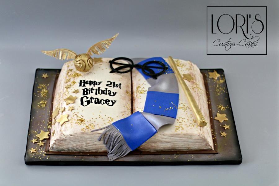 Harry Potter Ravenclaw Cake By Lori Mahoney Lori S Custom Cakes Harry Potter Birthday Cake Harry Potter Book Cake Harry Potter Cake