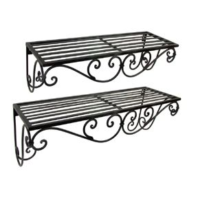 wrought iron shelves i d love to have these in the bathroom rh pinterest com black iron wall shelves iron hanging shelves