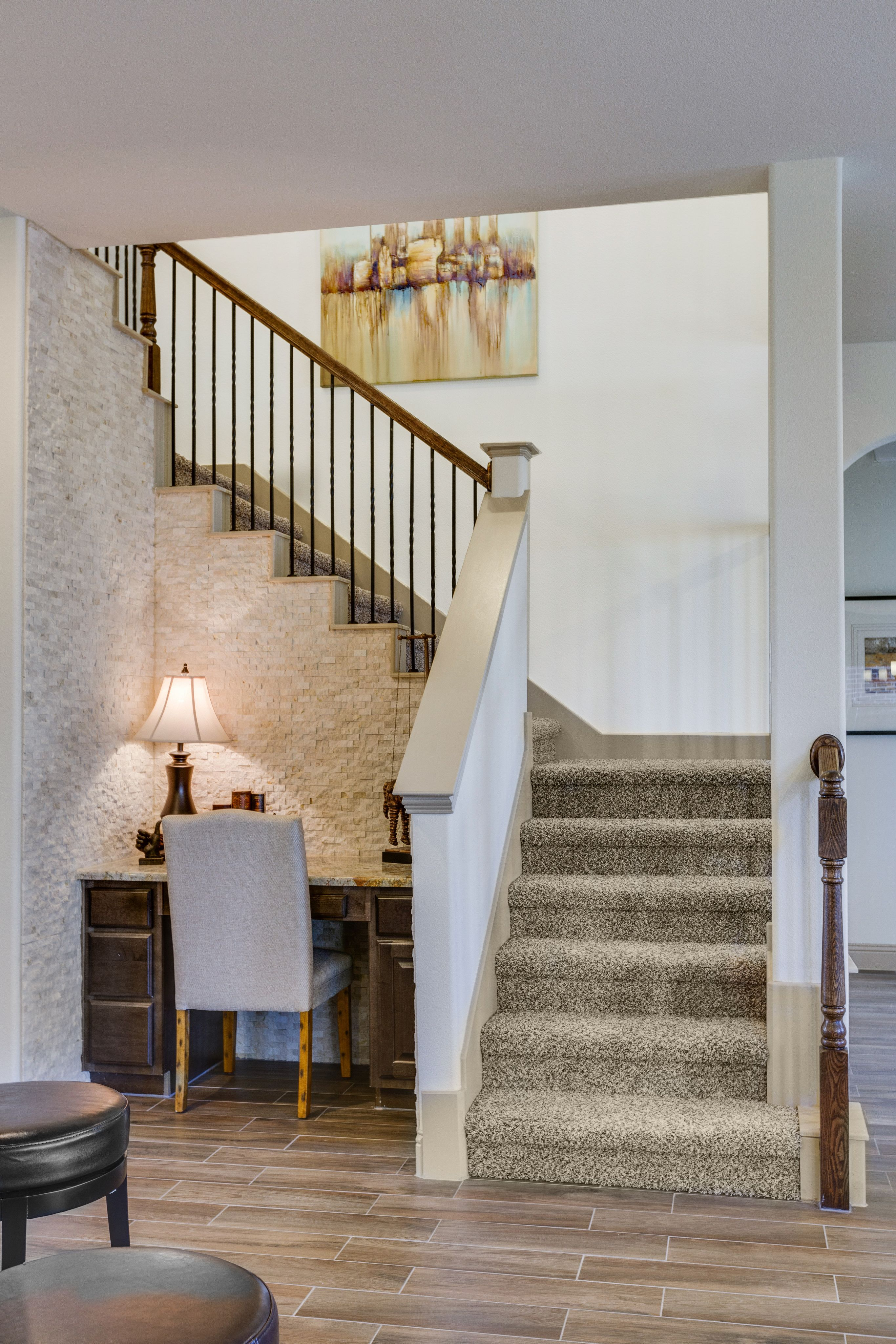Gehan homes stairway carpet staircase beige brick u shaped room dailygadgetfo Image collections