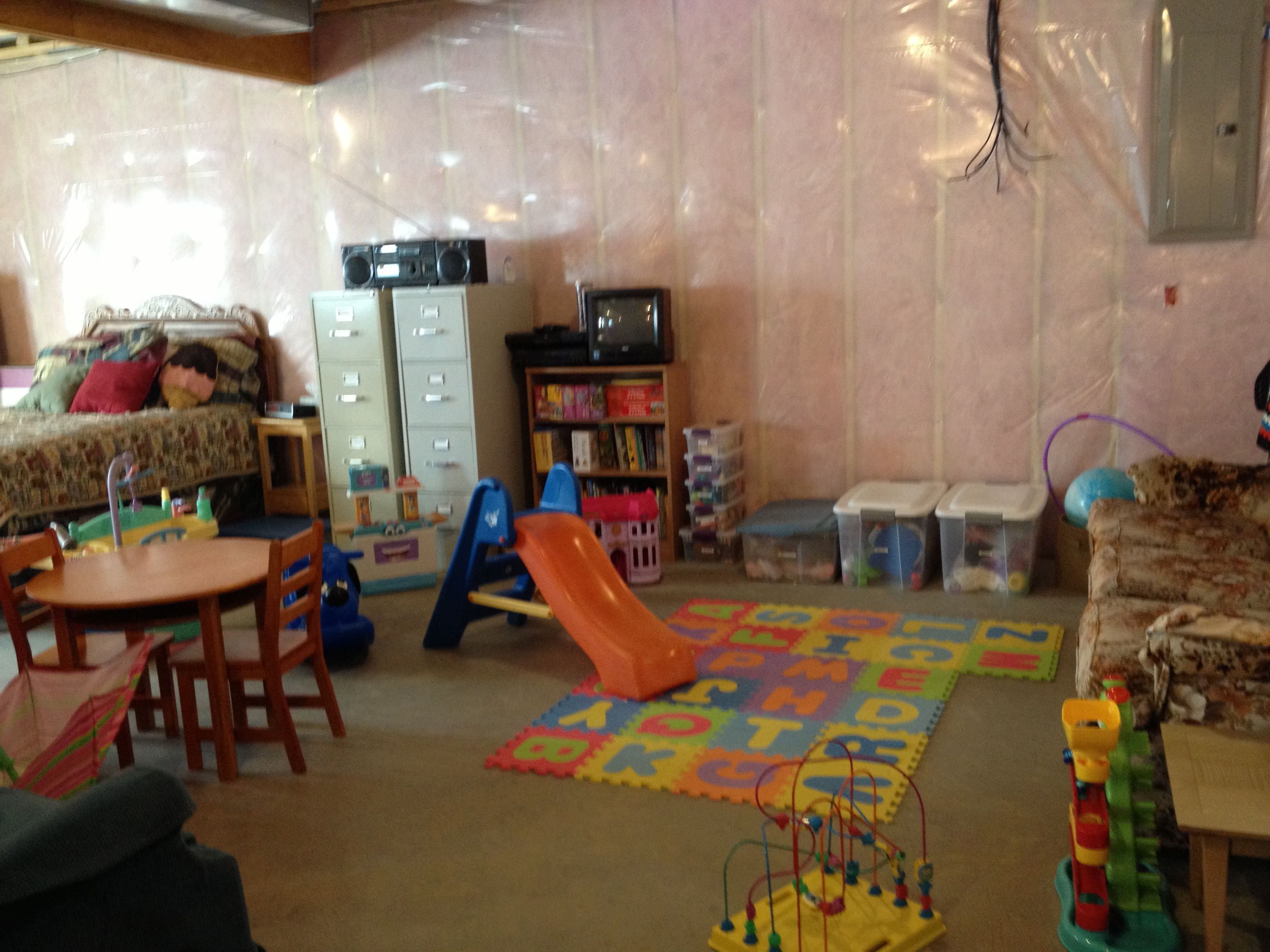 My unfinished but organized basement. Nice play area for ...