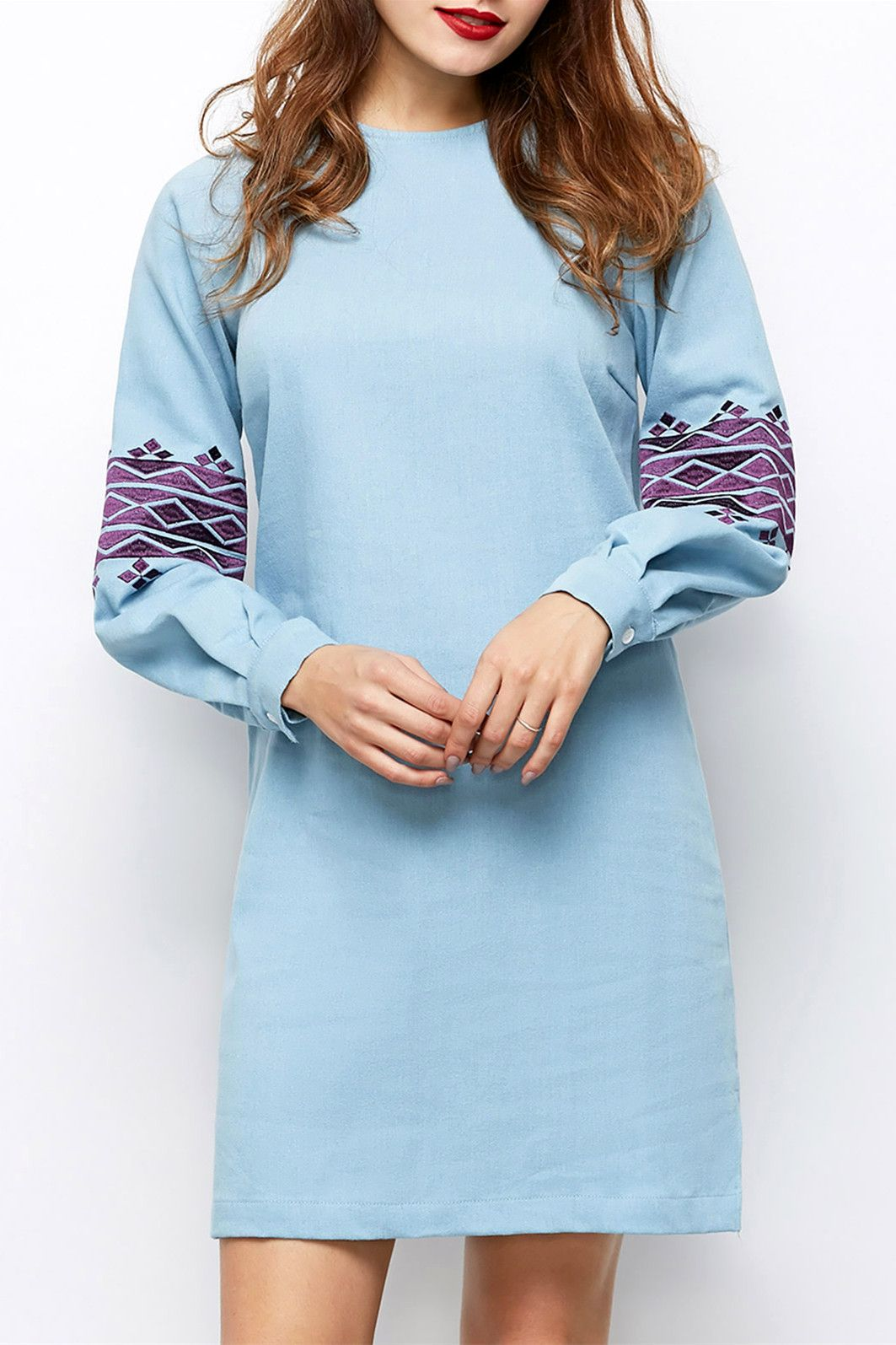 round neck puff sleeve embroidered dress long sleeve