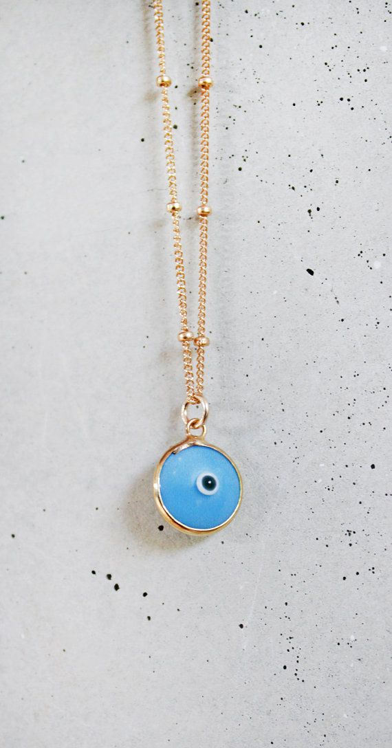 Light blue evil eye 14k gold filled chain necklace evil eye gold light blue evil eye 14k gold filled chain necklace mozeypictures Choice Image