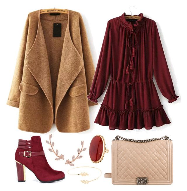"""""""319"""" by minor-inconvenience ❤ liked on Polyvore featuring Chanel, Humble Chic, Accessorize, dressy, dress, maroon and coat"""
