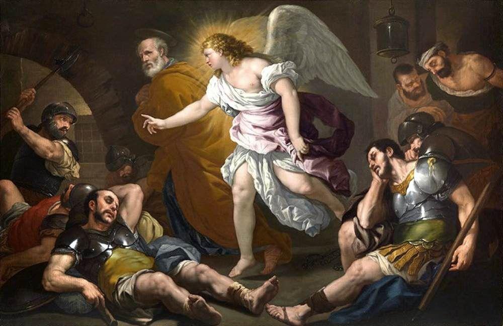 The Liberation of Saint Peter / La Liberación de San Pedro // 1661-1662 // Luca Giordano // Private collection // #angel