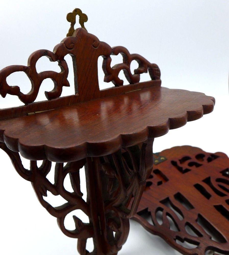 Fine Antique Chinese Rosewood Carved Wood Wall Shelf Stand Bracket