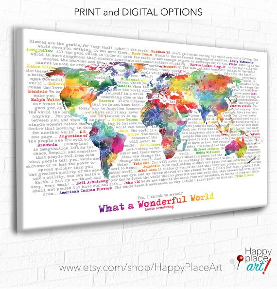 World map with quote wonderful world word art inspirational world map with quote wonderful world word art inspirational quotes world map canvas printable wonderful world motivational print map gumiabroncs Images