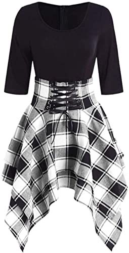 New Women Mini Dress Sexy High Waist Plaid Casual Goth Punk Short Dress online shopping - Topusbestsellers