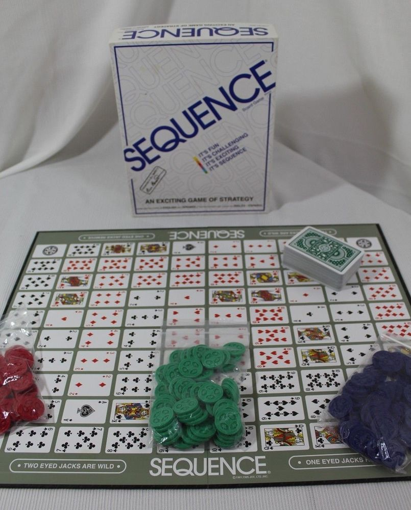 1995 Jax Sequence Game Card Board Strategy Adults Children
