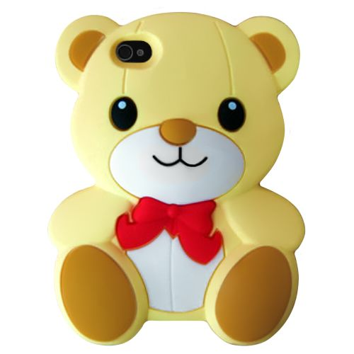 YELLOW TEDDY BEAR RED RIBBON SILICONE GEL SOFT CASE COVER SKIN IPHONE 4 4G 4S