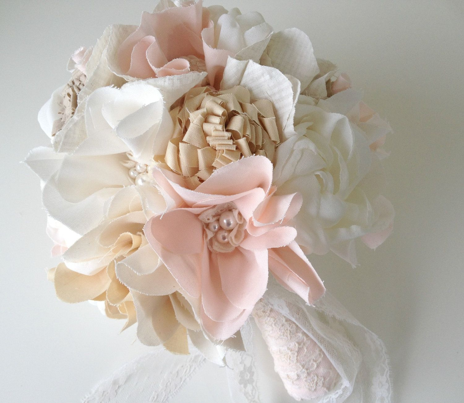 Unique Bridal Bouquet Fabric Flower Bouquet Rustic Weddings