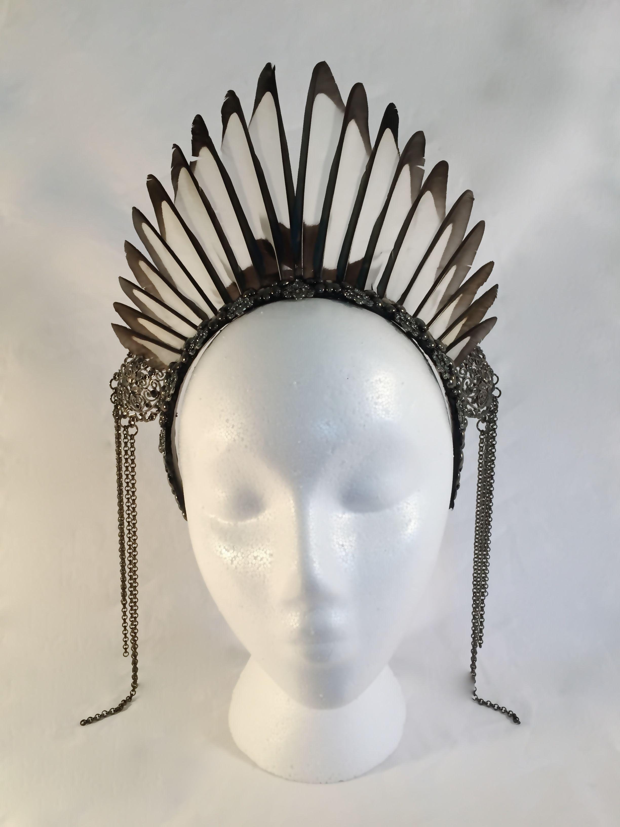 #maeve headpiece by #amaroqdesign #amaroq #magpie #halo #crown #feather #smoky #quartz