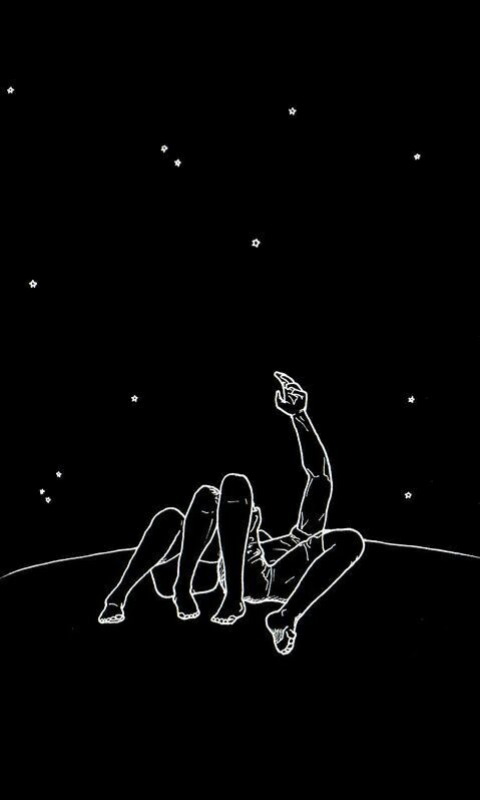 black and white couple cute drawing goals night sky